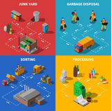Garbage Recycling Isometric Concept Icons Set Royalty Free Stock Images