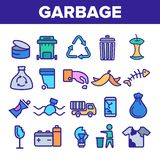 Garbage Recycling Linear Vector Icons Set Thin Pictogram royalty free illustration