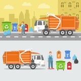 Garbage Recycling Set with Truck and Containers Royalty Free Stock Images
