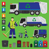 Garbage recycling. Set of trucks and containers Stock Image