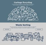 Garbage recycling and waste sorting prmotional Internet pages. Garbage recycling and waste sorting promotional Internet pages. Broken appliances, cracked glass vector illustration