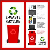 Garbage red container info with e-waste. Trash elements, vector illustration Stock Photos