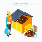 Garbage Removal Isometric Poster Royalty Free Stock Photography