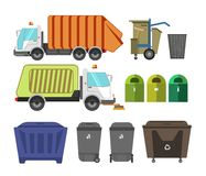 Garbage removal service dumpsters dustcarts machinery equipment vector icons. Garbage removal municipal service machinery equipment. Litter dumpsters or waste Royalty Free Stock Photo