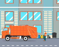 Garbage removal. The worker collect garbage in a garbage truck to take him out of the city. Cleaning equipment. Vector illustration Royalty Free Stock Photo