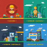 Garbage Removal 2x2 Design Concept Royalty Free Stock Image