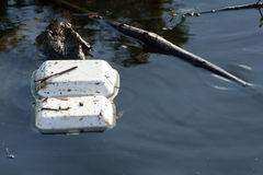 Garbage on the river. Garbage from community on the river Royalty Free Stock Image