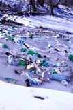 Garbage in the river royalty free stock photos