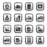 Garbage and rubbish icons Stock Photos