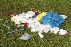 Garbage, rubbish after the Party. On a meadow Royalty Free Stock Photos