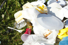 Garbage, rubbish after the Party. On a meadow Stock Photo