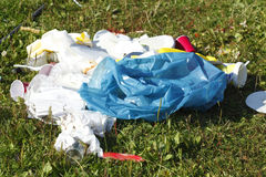 Garbage, rubbish after the Party. On a meadow Royalty Free Stock Photo