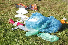 Garbage, rubbish after the Party. On a meadow Royalty Free Stock Images
