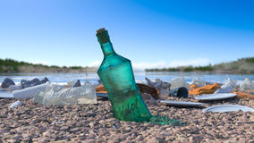 Garbage on the sea beach ecologic concept Stock Images