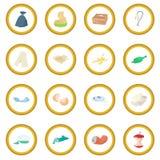 Garbage set icon circle. Cartoon isolated vector illustration Royalty Free Stock Photo
