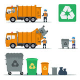 Garbage set of trucks workers and garbage bins. Vector garbage recycling set of trucks workers and garbage bins. Vector flat set of garbage in flat style Royalty Free Stock Image