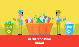 Garbage Sorting Banner. Men Sort Glass and Paper. Stock Photo
