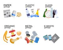Garbage sorting food waste, glass, metal. And paper, plastic electronic, organic. Vector illustration in flat style Stock Image