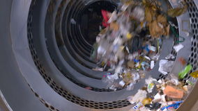Garbage sorting machine on a waste recycling plant. stock video