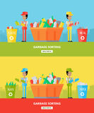 Garbage Sorting. Website Design Template Stock Photos