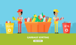 Garbage Sorting. Website Design Template Royalty Free Stock Photography