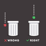 Garbage sticker. Information plate explaining how to properly dispose of garbage. Two bins with text. Illustration in a flat style. Ideal to use as  social Royalty Free Stock Images