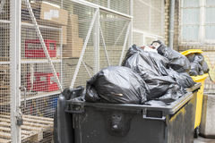 Garbage in the street and container Stock Image