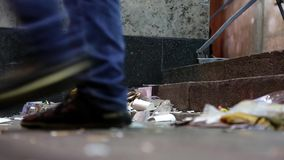 Garbage on the street. Garbage lying on the street stock video footage