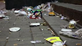 Garbage on the street stock footage