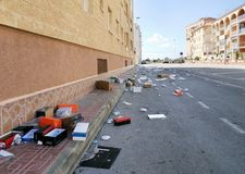 Garbage on the street of Torrevieja city after morning market Stock Photo