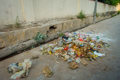 Garbage on the streets on Jaipur, India. India is a very dirty country Stock Photos