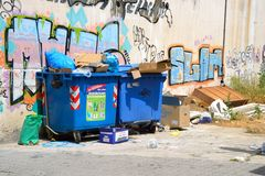 Garbage on the streets of Loutraki. Stock Images