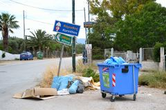 Garbage on the streets of Loutraki. Stock Photo