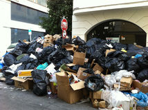 Garbage Strike in Athens. Stop sign protruding out of a huge pile of garbage during a garbage strike in Athens Greece in 2011 Royalty Free Stock Photography