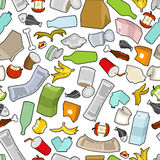 Garbage texture. Rubbish seamless pattern. trash ornament. litter background. peel from banana and stub. Tin and old newspaper. B. One and packaging. Crumpled royalty free illustration