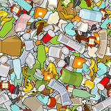 Garbage texture. Rubbish seamless pattern. trash ornament. litte. R background. peel from banana and stub. Tin and old newspaper. Bone and packaging. Crumpled Stock Images