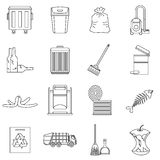 Garbage thing icons set, outline style Royalty Free Stock Photography