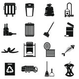Garbage thing icons set, simple style Stock Images