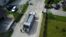 Garbage transport car Aerial view, drone top view