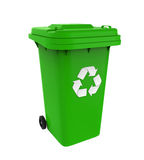 Garbage Trash Bin with Recycle Symbol Royalty Free Stock Photography
