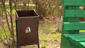 Garbage in a Trash Bin stock footage
