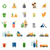 Garbage and trash flat icons set. Trash export and recycle, clean and bucket, vector illustration Stock Photography
