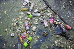 Garbage Trash Pollution In Lake Stock Images