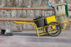 Garbage trolley of street street sweeper Royalty Free Stock Photos