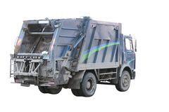 Garbage truck. Under the white background. The truck moves, therefore wheels are blurred Royalty Free Stock Photos