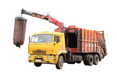 Garbage truck. Under the white background Royalty Free Stock Photos