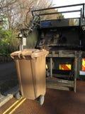 Garbage truck. With elevated wheelie bin Royalty Free Stock Image