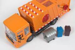 Garbage truck. Plastic garbage truck  and container waste  toy Royalty Free Stock Image