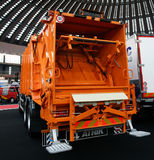 Garbage truck. BELGRADE - MARCH 29: An Volvo garbage truck rear on display at the 50th International Car Show on March 29, 2012 in Belgrade, Serbia. Stitched Royalty Free Stock Photo