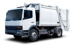 Garbage Truck. White Garbage Truck Isolated with drop Shadow Royalty Free Stock Images
